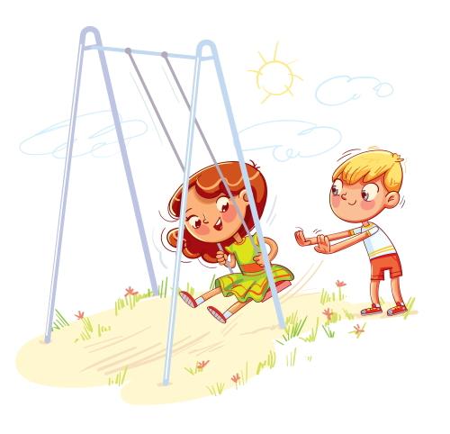 幼稚園の園庭で遊ぶ年中さんと年長さん