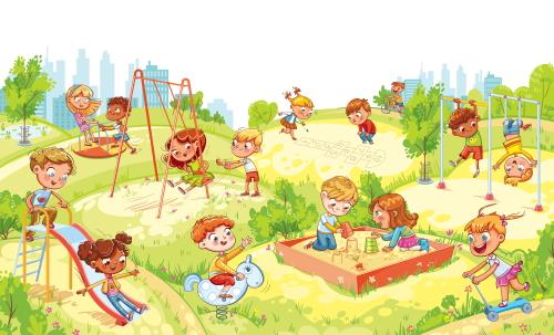 幼稚園の園庭で楽しく遊ぶ子どもたち