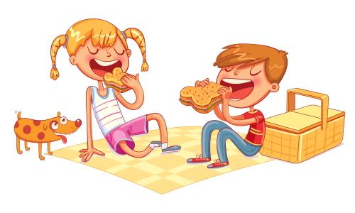 給食を食べる小学生の男子児童と女子児童。幼稚園教諭から小学校教諭に転職。