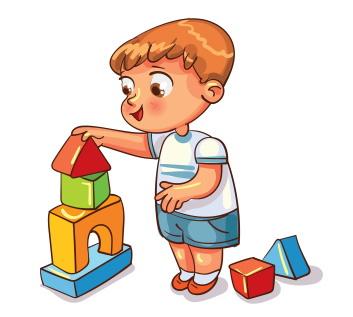 積み木をする幼稚園の男児。専業主婦から幼稚園教諭に再就職しよう。