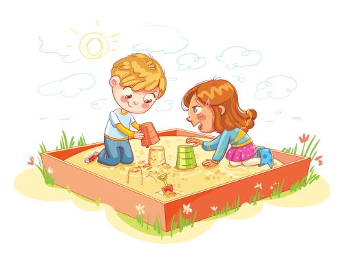幼稚園の砂場で遊ぶ男の子と女の子。ユーキャンで勉強中