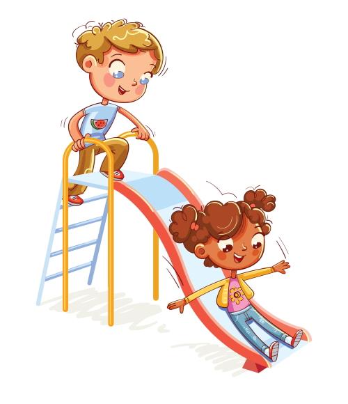 滑り台で遊ぶ5歳の男児と女児。ユーキャンの通信教育。
